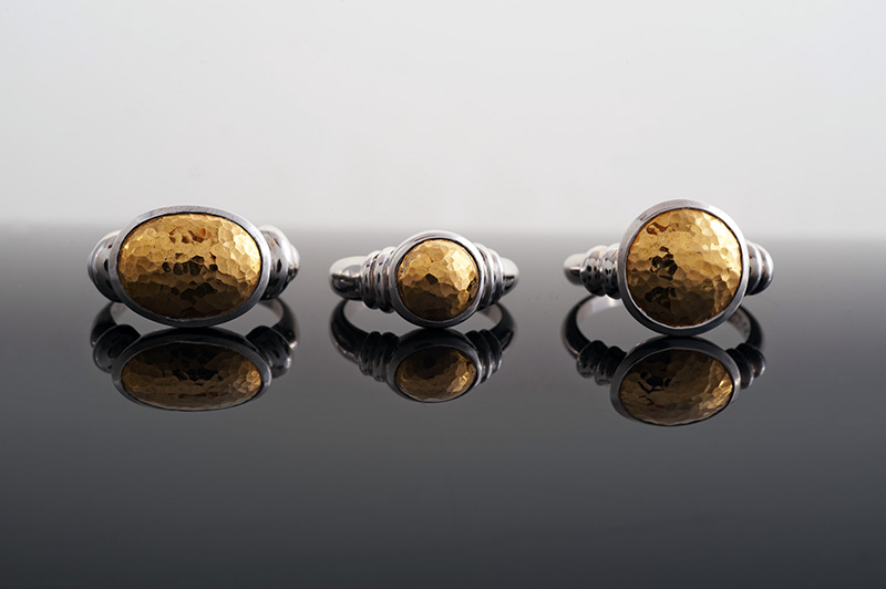 Rings with hammered gold domes