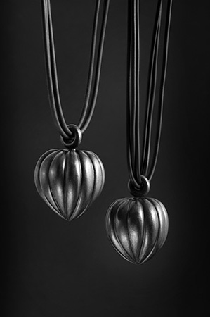 Oxidised silver fluted pendants