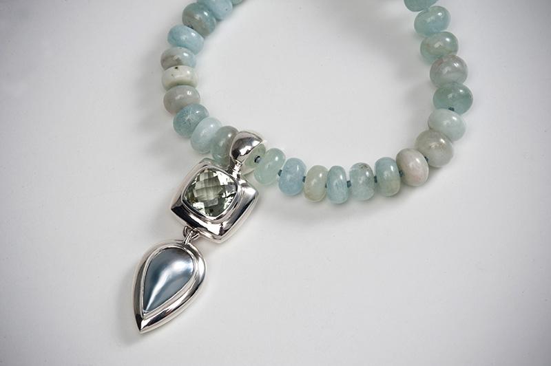 Mint quartz and grey pearl drop neckpiece