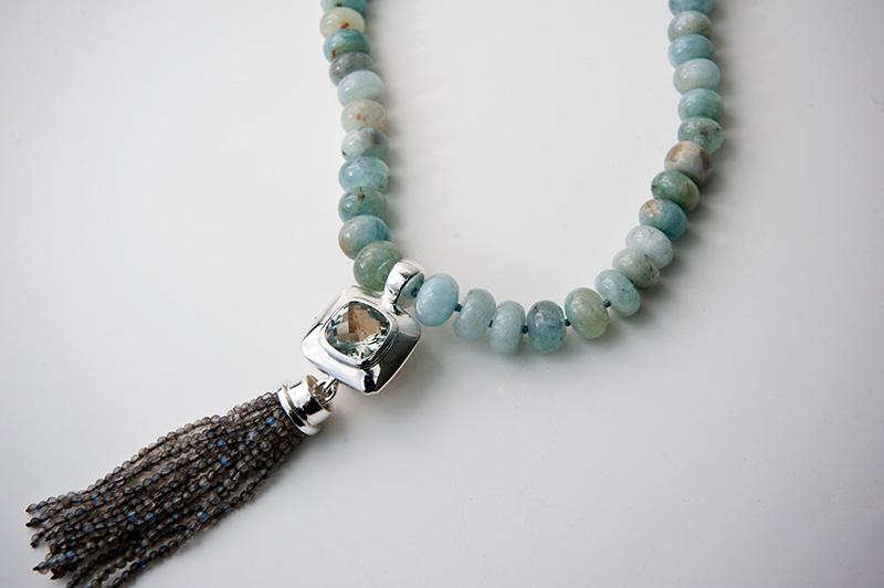 Mint quartz pendant with labradorite tassel