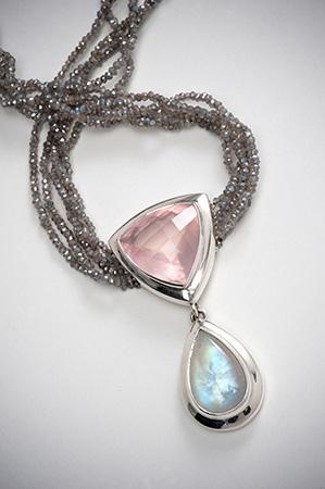 Rose quartz and rainbow moonstone neckpiece
