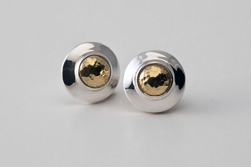 Earrings with hammered gold domes