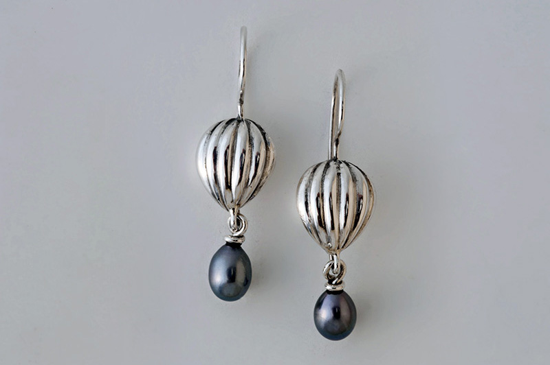 Fluted drop earrings with suspended pearls